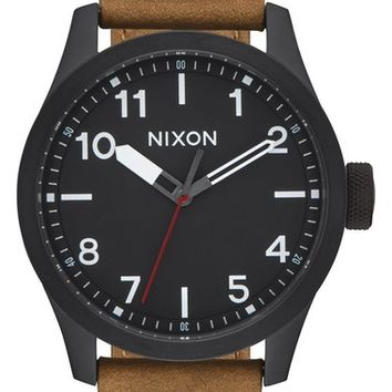 Nixon 'Safari' Leather Strap Watch, 43mm | Nordstrom