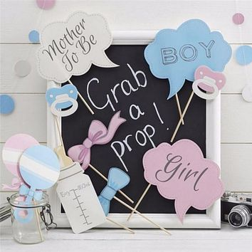 10 Pcs Party Photo Booth Props For Baby Shower or Gender Reveal