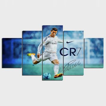 Real Madrid Ronaldo Soccer Football Sports 5 Pcs Pieces Wall Art Canvas Panel Print Picture
