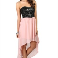 Strapless High Low Dress with Sequin Faux Leather Bodice - Clearance
