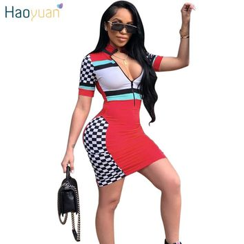HAOYUAN Summer Dress 2018  Sundress Zip V-Neck Plaid Color Block Robe