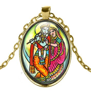 Radha Krishna for Soul Mate Connections Talisman with Chain Necklace