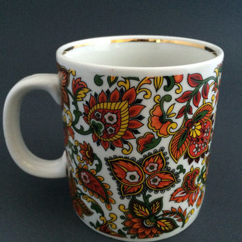 Vintage Japanese Paisley Pattern Bright Colors Orange Porcelain Coffee Mug Cup