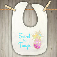 Baby Bib for Girls - Baby Shower Present - Watercolor Pineapple Baby Teething Bib - Present for Newborn - Drool Bib