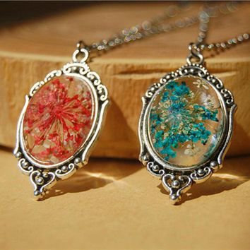 New Department of forestry original natural dried flowers Small pure and fresh pendant necklace