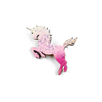 Wood Unicorn Brooch - Unicorn Jewelry, Mythical Pin, Statement Brooch, Wood Jewelry, Lasercut Brooch, Wooden Jewellery, Glittery Pin