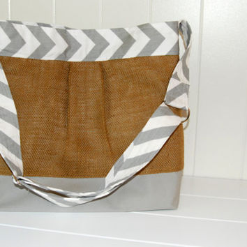 NEW Medium Diaper Bag , Burlap with Grey and White Chevron and Polka dots- The Parker