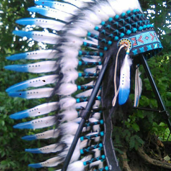 SALE Blue White Warbonnet, Native American headdress, Indian headdress, chief Indian, monochrome headdress, Tomorrowland, rave headdress