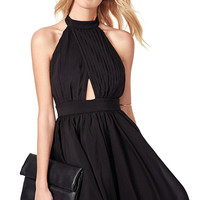 Black Cut Out Pleated Chiffon Skater Dress