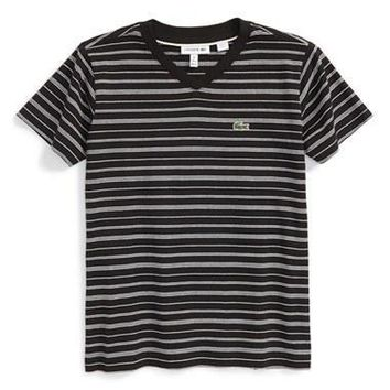 Boy's Lacoste Stripe V-Neck T-Shirt,