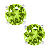 2.00 Ct Green Peridot 925 Sterling Silver Stud Earrings 6MM