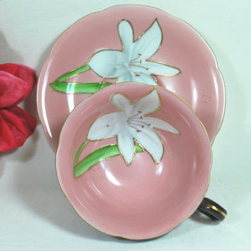 Vtg Tea Set Cup and Saucer Pink and Black Occupied Japan Hand Painted