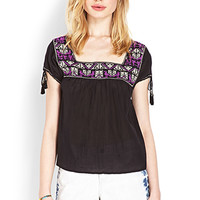 FOREVER 21 Whimsical Embroidered Peasant Top Black/Purple