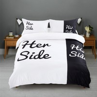 Her side his side bedding set 3pcs/4pcs Bed Linen Couples Duvet Cover Set love couple Queen/King size