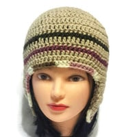 Women Ear Flap Hat, Crochet earflap Hat, Ear Flap Beanie, Striped Adult Cap, Male or Female, Helmet Hat, Unisex Trapper hat, Flapper Hat