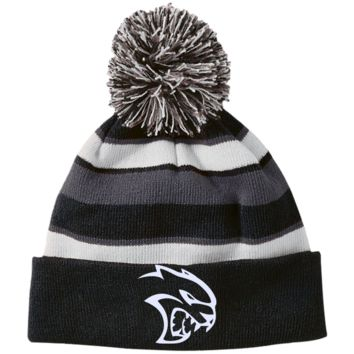 DODGE HELLCAT 223835 Holloway Striped Beanie with Pom