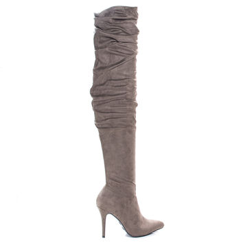 Monet23v Taupe by Anne Michelle, Taupe Suede Thigh High Wrinkled High Heel Dress Boots