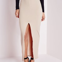Missguided - Ribbed Longline Split Front Midi Skirt Camel