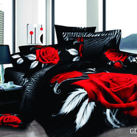 Animal Print and Large Red Rose 3D Bedding Set