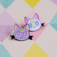 PRE SALE Luna and Artemis, Sailor Moon Style Soft Enamel Pins