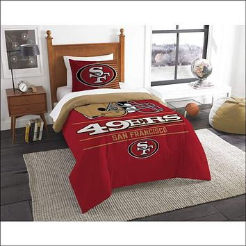 """49ers OFFICIAL National Football League, Bedding, """"""""Draft"""""""" Printed Twin Comforter (64""""""""x 86"""""""") & 1 Sham (24""""""""x 30"""""""") Set  by The Northwest Company"""