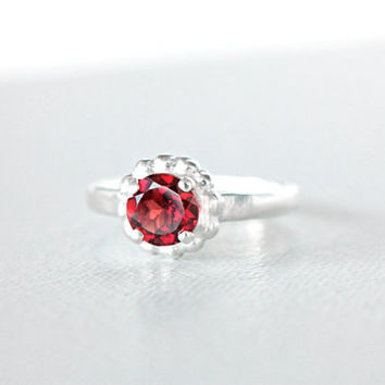 Garnet Engagement Ring Red Garnet Ring Sterling Silver Natural Garnet Ring Prong Set Garnet Ring 6mm Size 5 January Birthstone Ring