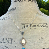 Blue turquoise stone necklace with silver. Bohemian jewelry.
