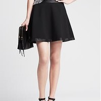 Faux-Leather Trim Full Skirt