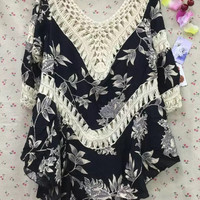 Irregular Loose Cotton Hollow Out Patchwork Floral Printed Blouse  10700