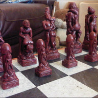 Adult Erotic Sex Themed Kama Sutra Chess Set with Two Extra Queens - Mature