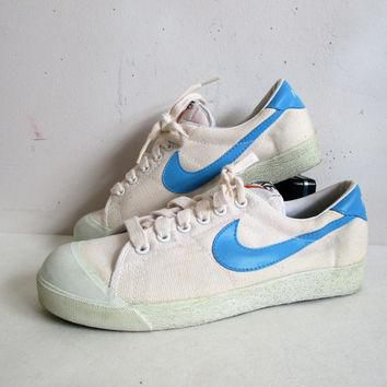 Vintage 1970s Nike Sneakers White Blue Streak Shell Toe Canvas 70s Athletic Shoes Wome