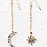 Crescent Moon and Starburst Drop Earrings