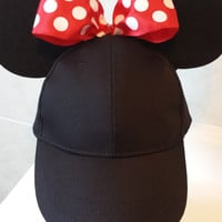 Minnie Mouse Ears inspired Baseball Cap with Red Polka Dot Bow and Ears