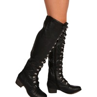 Black Military Lace Up Flat Boots