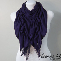 Ruffle Scarf, Pashmina Scarf, Navy Blue Scarf by Scarves Infinity