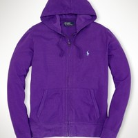 Full-Zip Cotton Mesh Hoodie