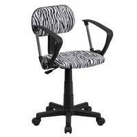 Black & White Zebra Print Computer Chair with Arms