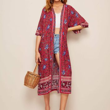Ditsy Floral Open Front Longline Kimono