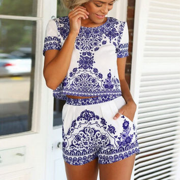 Summer Blue and White Shorts Set