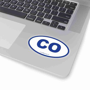 Colorado CO Euro Oval Sticker BLUE