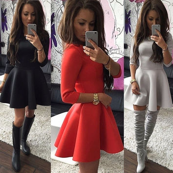 Fashion Women's 3/4 Sleeve Sexy Winter Evening Party Bodycon Mini Skater Dress