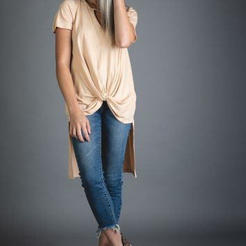 Blush Hi Lo Front Twist Tunic Top