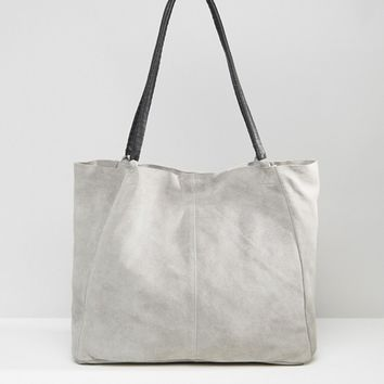 ASOS Suede Unlined Shopper Bag With Wrap Handle at asos.com
