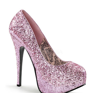 Bordello Baby Pink Glitter Pump Platforms