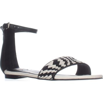 Cole Haan Genevieve Weave Sandal Flat Ankle Strap Sandals, Black/Black/White, 9 US
