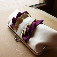 Ivory with cream and purpleruffled clutch | cuteandunique - Bags & Purses on ArtFire