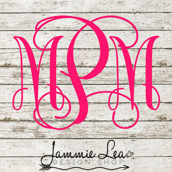 Monogram Car Decal - Traditional - You Pick Size - Vinyl Decal Sticker