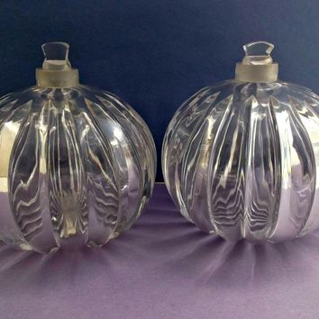 Pair Clear Carved Glass Vintage Cologne Perfume Bottles Squat Bulbous Pumpkin Style