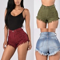 High Waist Ripped Denim Shorts Jean Shorts Mini Shorts For Women