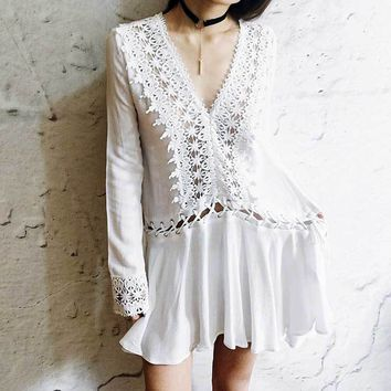 Boho Inspired 2017 boho dress silhouette cotton tunic V-neck crochet sleeve summer dresses sexy beach wear clothing